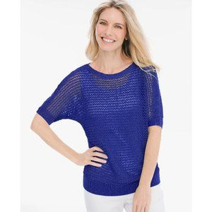 Chico's Textured Open Knit Royal Blue Sweater